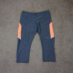 Nike Running Leggings Crop Gray Orange Medium